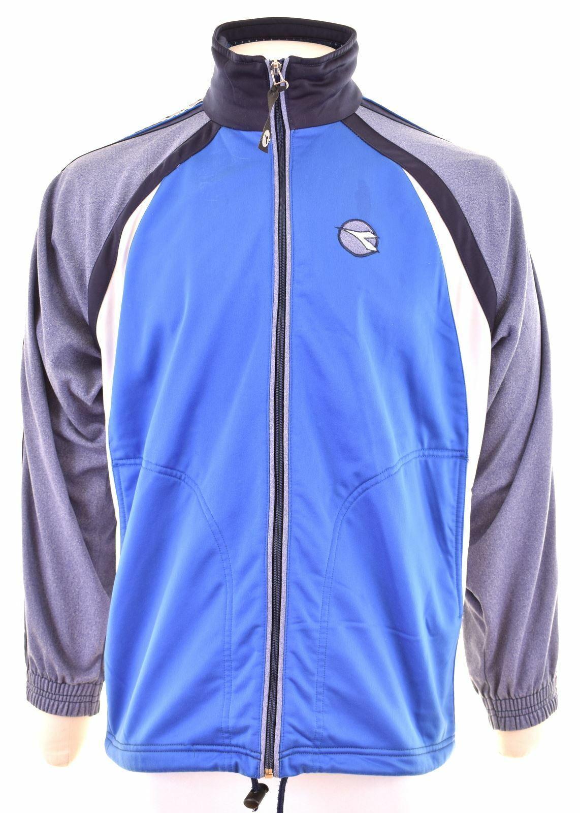 DIADORA Mens Tracksuit Top Jacket UK 34 XS Blue Polyester Vintage DV01