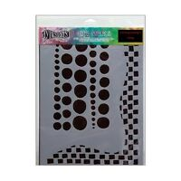 Chequered Dots 9x12 Flexible Plastic Stencil For Papercrafting Collage Painting