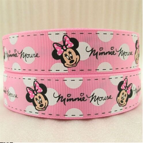 WHITE RIBBON SIZE 1 INCH HAIR BOWS HEADBANDS CAKE 1 METRE MINNIE MOUSE PINK