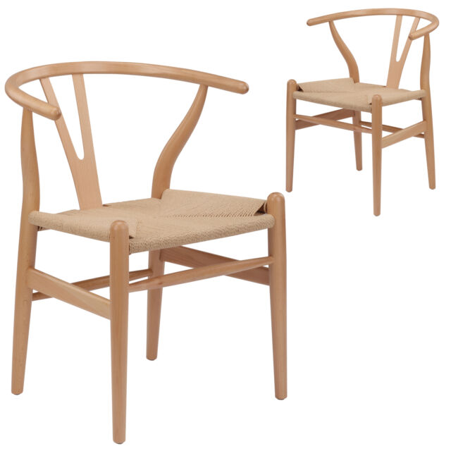 NEW Set of 2 Natural Hans Wegner Replica Wishbone Chair