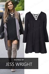 NEW WOMENS LADIES CELEBRITY LONG SLEEVE LACE UP TIE V NECK SWING ... 4d9b9627c