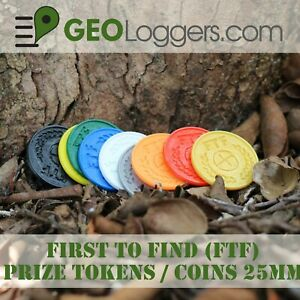 NEW-10-x-FTF-First-to-Find-Geocache-Prize-Tokens-Coins-25mm-10-Pack