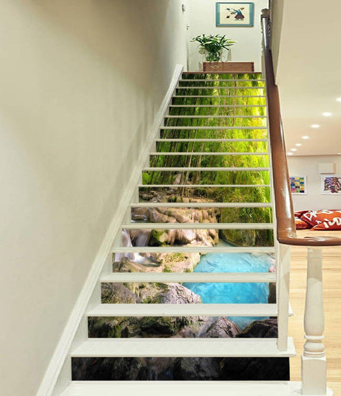3D Wald Fluss 125 Stair Risers Dekoration Fototapete Vinyl Aufkleber Tapete DE