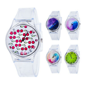 Kids-Women-Clear-Colorful-Dial-Silicone-Band-Quartz-Analog-Wrist-Watch-Showy