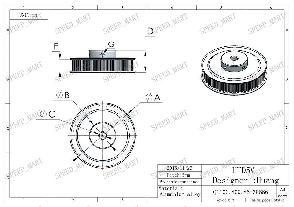 5m htd5m aluminum timing belt pulley 80 teeth 12mm bore 16mm width stepper motor