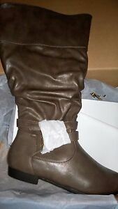 d55046aba01 Image is loading Avenue-Cloudwalkers-Cole-Ruched-Buckle-Boots-Taupe-Wide-