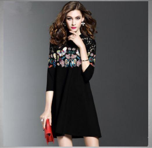 Kleid kurz kleid schaukel élégant Blaumenmuster schwarz weich mode hülle 4827