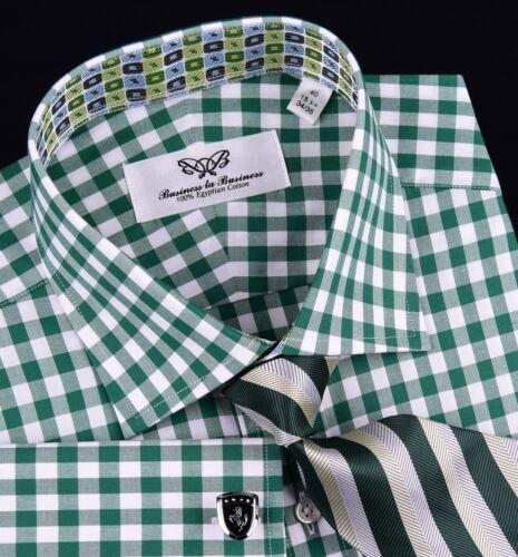 Forest Green Lucky Irish Charm Design Plaids /& Check Formal Business Dress Shirt