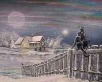 Folk Art Winter House Scene Fence Black Cats Beautiful Snow Scene First Date