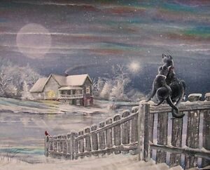 Image result for beautiful paintings of cats in winter