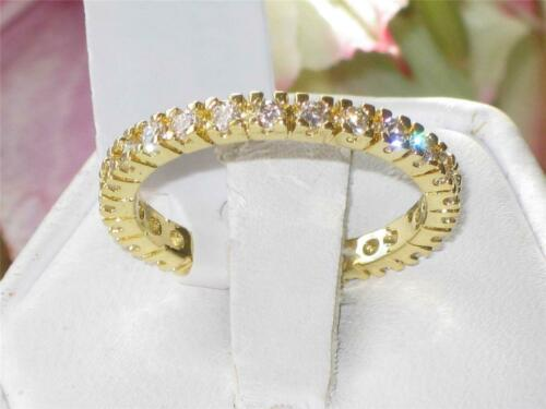 Gold eternity ring stacking cz 2.3mm ladies cubic zirconia full band new 5202