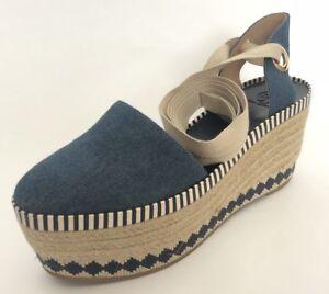 d8bfc51d2f4 Details about Tory Burch Women Shoes Size 10.5 NIB Dandy Blue Denim  Espadrille Wedge Sandals