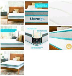 Linenspa 10 inch Hybrid Memory Foam + Spring Mattress Twin ...