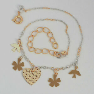 10K-Yellow-amp-White-Gold-GF-Bell-Heart-Clover-Bird-Chain-Anklet-22-28cm-Long