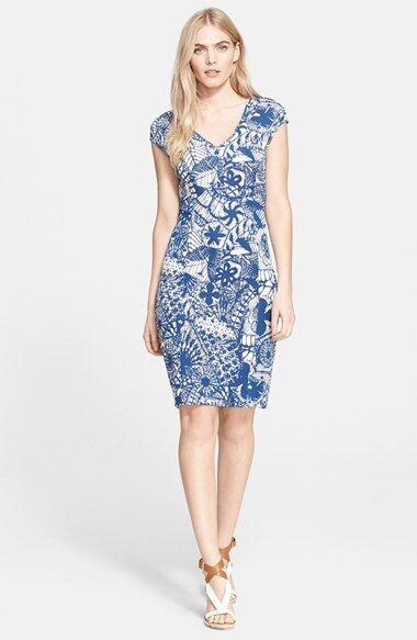 NEW Tory Burch Print V-Neck Sheath Dress- Blau, Weiß Größe S