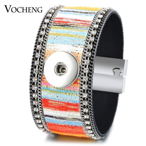 18 mm vocheng Snap Charms Coloré Bracelet Simili Cuir Cristal Aimant Fermoir NN-526