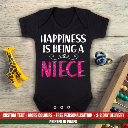 Happiness Is Being A Niece Baby Vest Cute Aunt New Auntie Uncle Gift Set Top