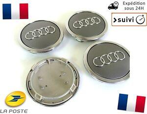 4x-Cache-Moyeu-Centre-de-Roue-Enjoliveur-Embleme-Jante-Logo-insigne-Audi-69MM