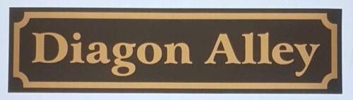 "Diagon Alley Sign wall art matt Black /& Gold 12/"" wide Harry Potter Hogwarts"
