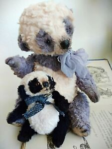Teddy-Big-Bear-Dino-with-the-toy-panda-OOAK-Artist-Teddy-by-Voitenko-Svitlana