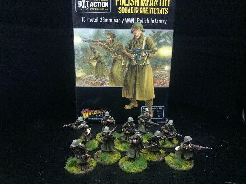 DPS painted Bolt Action WW2 Polish Infantry Squad in Greatcoats ,Warlord Games