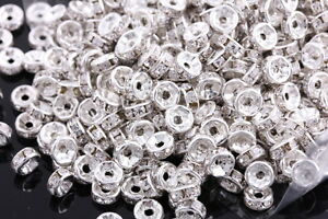 200-Pcs-6mm-Silver-Plated-Crystal-Spacers-Rondelle-Beads-Jewelry-Findings-Charms
