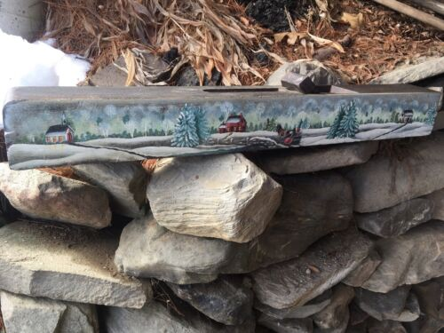 Antique Wood Block Plane Snow Country Landscape Painting
