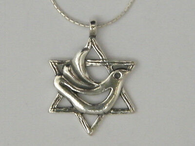 """N02013 SHABLOOL ISRAEL Didae 18"""" 925 Sterling Silver Star of David Dove Necklace"""