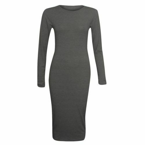 Womens Long Sleeve Jersey Plain Stretch Bodycon Cocktail Party Pencil Midi Dress
