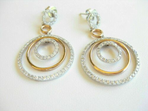 1.00 Ct Round Cut Diamond Dangle Earrings 14k Two Tone Gold Finish For Woman/'s