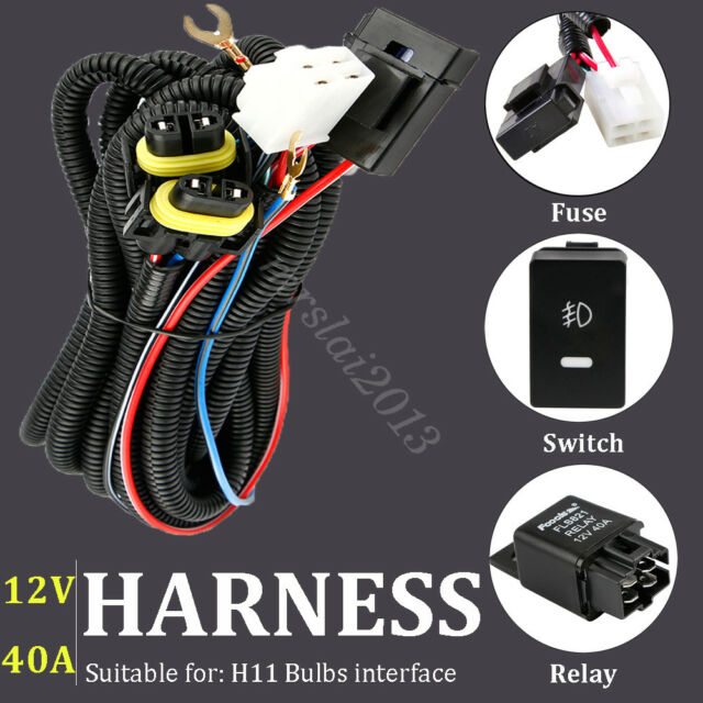 switch 12v 40a relay wiring harness work fog light bar kit on off led for h11  rgb 5d light bar 22inch 120w led flood