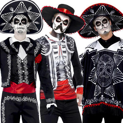 f29c7110903 Day of the Dead Mens Fancy Dress Halloween Bones Skeleton Undead Adults  Costumes | eBay