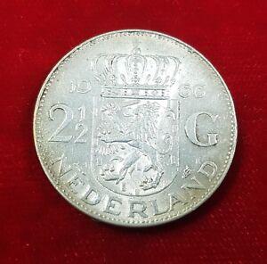 1966 2 12 Gulden Münze Coin Niederlande Holland Königin Juliana