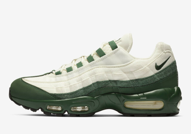 vente chaude en ligne ff391 f6aca Mens Nike Air Max 95 Running Shoes Forest Green White Black BV9205 300 Fir  Sail