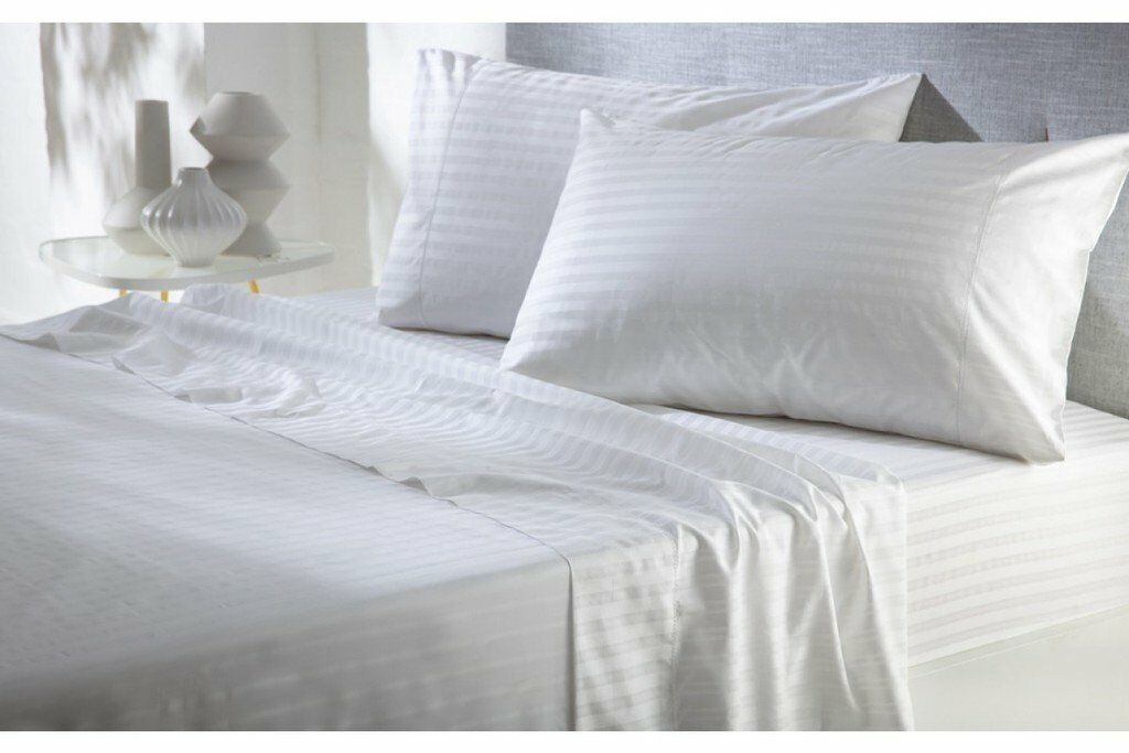 Top Bedding collection White Stripe Cotton 800-TC 15  Drop All Size Available