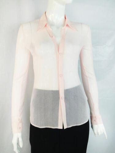 Vivienne Tam Light Pink Mesh Button Down Shirt - S