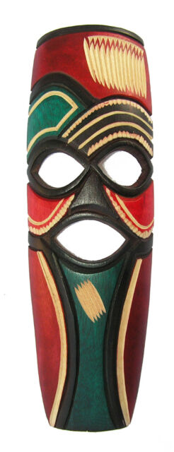 Colorful Hand Carved African Mask in Jacaranda Wood