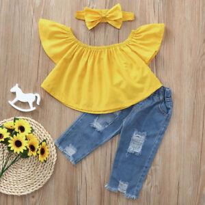 1673393572080 Baby Girls Kids Shirts Crop Top+Ripped Jeans Denim Pants Summer ...
