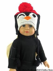 Penguin-Knit-Pigtail-Hat-18-in-Doll-Clothes-Fits-American-Girl-Dolls