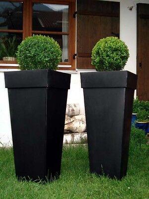 """Freundlich Casa Mina Zink Blumenkübel Pflanzkübel """"shanghai"""" 2er Set Schwarz 70cm"""