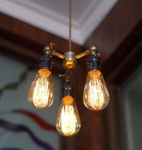 Image Is Loading 3 Bulb Edison Pendant Light Vintage Style