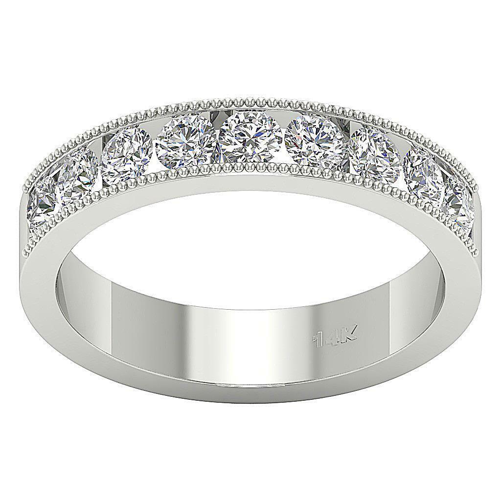 SI1 G 9 Stone Wedding Anniversary Ring 1.20 Ct Round Diamond Appraisal 14K gold