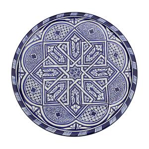 Marocain Grande Céramique Assiette Plateau peint à la Main à Fez Bleu 35 cm//14 in FP2 environ 35.56 cm