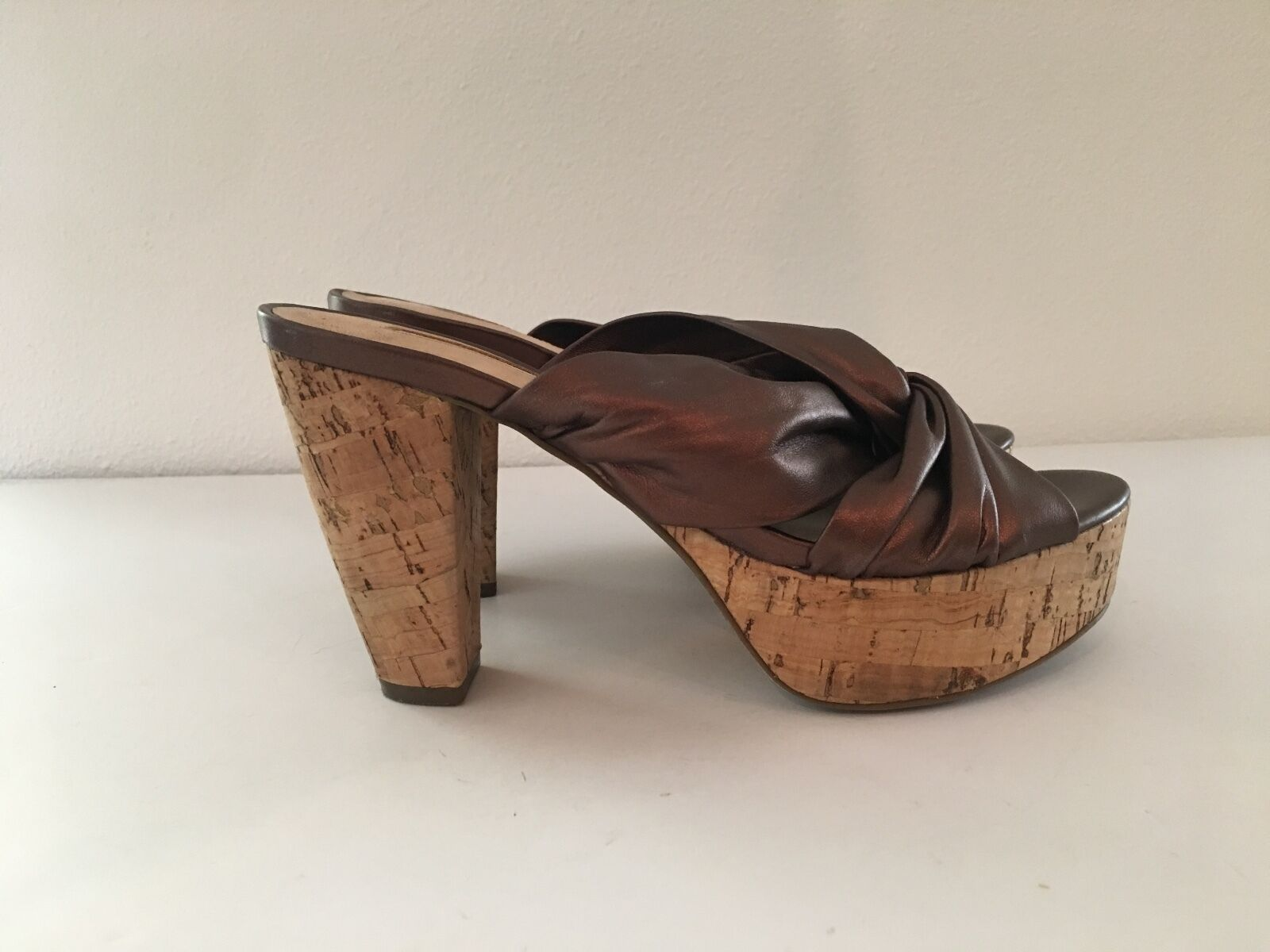 VIA SPIGA SANDAL BROWN LEATHER PLATFORM SLIDES SANDAL SPIGA SIZE 6.5 $189 5dc1d6