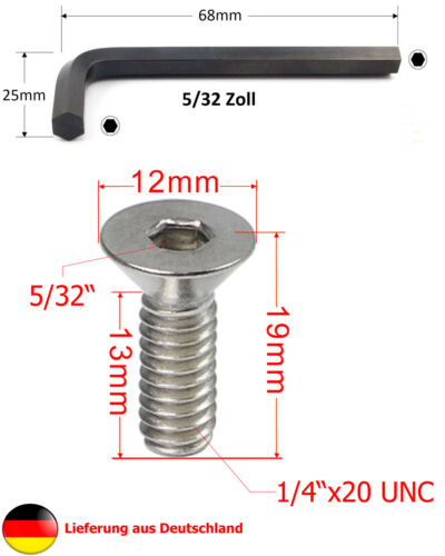 "6st 5//32 llave vaso 1//4/"" pulgadas de acero inoxidable-senkkopfschraube L = 19mm entre 1st"