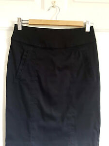 Black-Pencil-Skirt-Cotton-Blend-Knee-Length-Uk-8-H-amp-M-Zip-Eu-38-Career