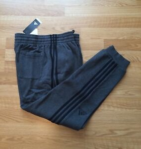 NWT Men's Adidas Athletic Active Pants 3s Gray XL Slim Fit Jogger Running Pants