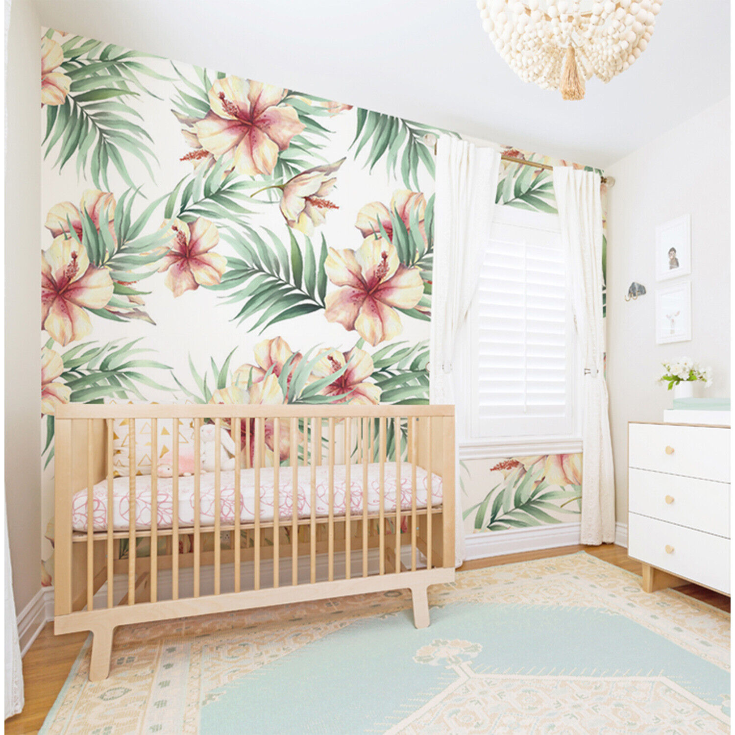 Hawaii Flowers Non-Woven wallpaper WaterFarbe wall mural Leaves Traditional