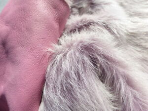 sheepskin leather hide White Tipped Purple Toscana long thick silky haired
