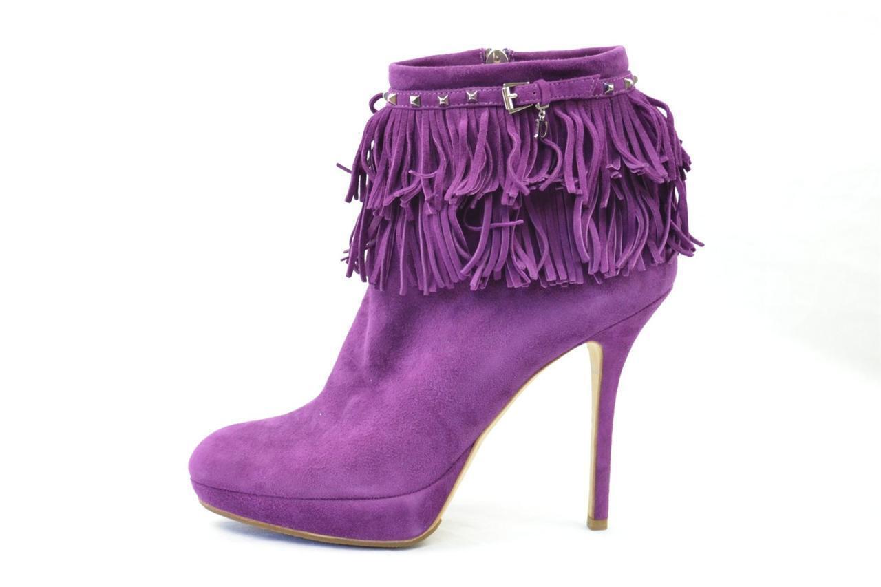 CHRISTIAN DIOR violet Suede Fringe Studded High-Heel Platform démarrage démarrageie 9-39